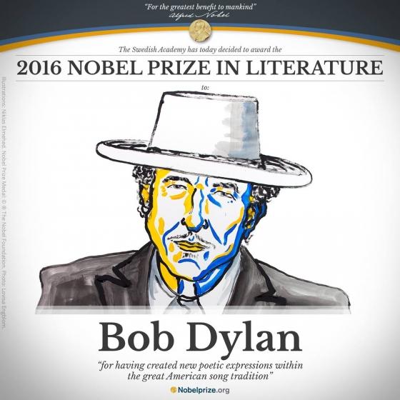 미국의 싱어송라이터 밥 딜런이 13일 노벨문학상 수상자로 선정됐다./사진=노벨위원회 공식홈페이지<br />