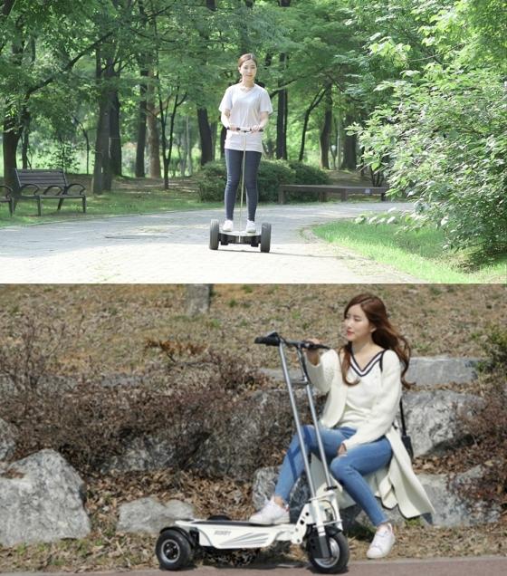 로보쓰리의 2바퀴 전동보드형 PM '트위스터'(위)와 계양전기 3바퀴 전동킥보드형 PM '스쿠티' / 사진=로보쓰리, 계양전기 제공