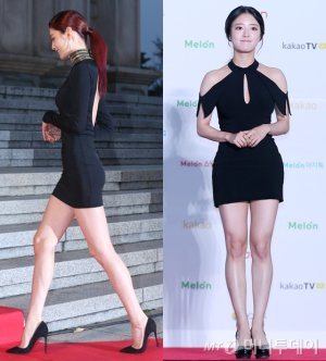 나나 vs 이세영, '블랙 미니 드레스' 스타일링 대결