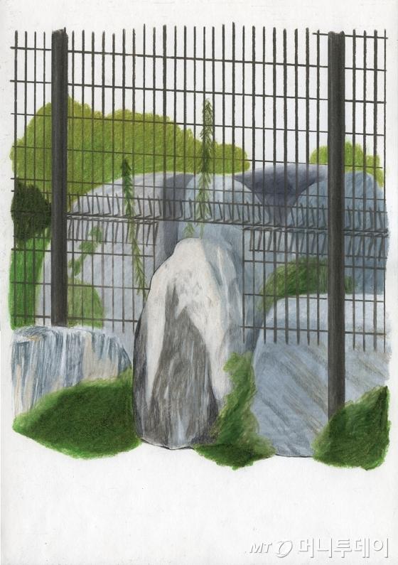 호상근의 '튀어나온 돌과 펜스', 종이 위에 연필, 수채, 색연필, 36.4x25, 2016. /사진제공=호상근