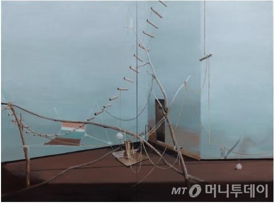 노충현 작가가 12월 8일 페리지갤러리에서 개막하는 개인전, '자리'에서 선보이는 회화 작품 '사다리'. /사진제공=페리지갤러리