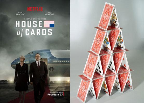지난해 공개된 '하우스 오브 카드' 시즌3의 포스터(왼쪽)와 카드로 만든 집./사진=넷플릭스·픽사베이