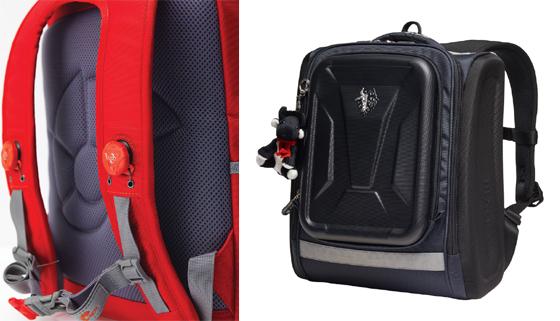 어깨끈에 '보아 시스템'을 적용한 네파키즈 '보디가드백'(왼쪽)과 블랙야크 키즈 '폴카케이스'(오른쪽)/사진제공=네파, 블랙야크