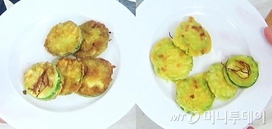 사진 왼쪽은 달걀옷을 입힌 전. 오른쪽은 강황가루를 활용해 계란 없이 만든 전. / 사진=머니투데이