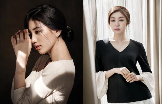 디디에 두보 모델 수지(왼쪽)와 제이에스티나 모델 김연아/사진제공=각 사