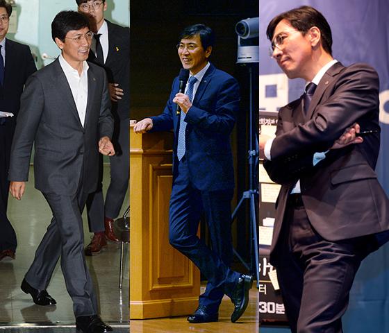 (왼쪽부터) 2016년 10월, 2016년 12월, 2017년 2월에 찍힌 안희정 지사의 모습. /사진=뉴스1, 안희정 충남지사 공식홈페이지