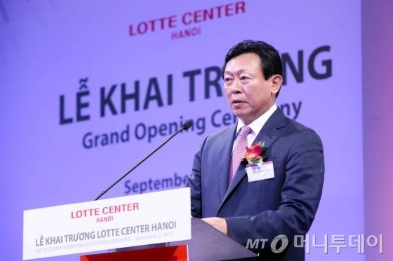 2일 베트남 하노이에 위치한 '롯데센터 하노이' 오픈식에 참석한  신동빈 롯데그룹 회장