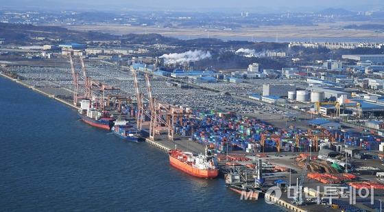 경기도 평택시 포승읍 평택항에 수출을 기다리는 컨테이너와 차량들이 빼곡히 쌓여 있다. / 사진=뉴스1