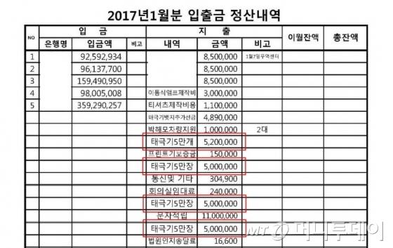 박사모에서 공개한 2017년 1월 탄기국 입·출금 정산내역./ 사진제공=박사모