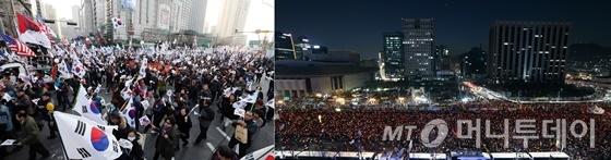 (사진 왼쪽부터) 4일 서울 덕수궁 대한문 앞에서 박근혜 대통령 탄핵을 반대하는 이른바 태극기집회(맞불집회)가 열렸다. 같은 날 광화문 광장에는 박 대통령 탄핵을 요구하는 촛불집회가 열렸다. /사진=임성균 기자