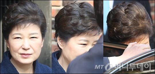 박근혜 전 대통령이 검찰 소환 조사 받기 위해 21일 오전 서울 삼성동 자택을 나서고 있다./사진=머니투데이DB