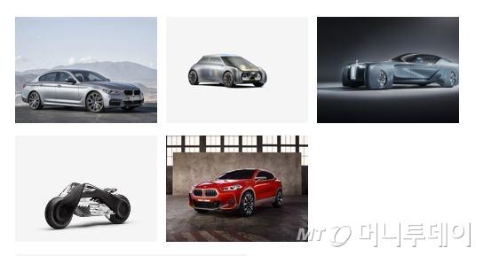 왼쪽부터 시계방향으로 뉴 5시리즈, 'MINI 비전 넥스트 100', '롤스로이스 비전 넥스트 100', 'BMW X2 콘셉트', 'BMW 모토라드 비전 넥스트 100'/사진제공=BMW코리아