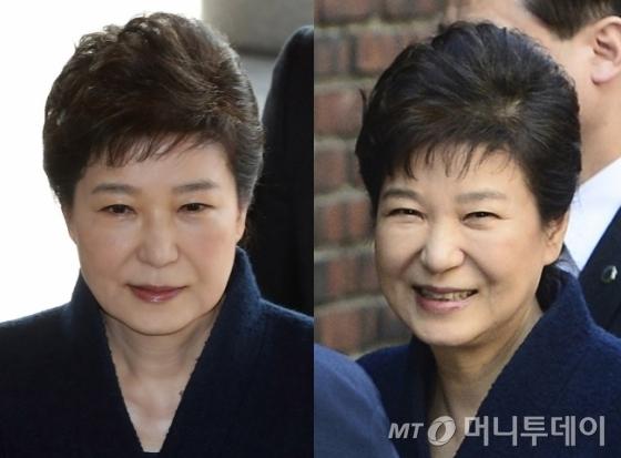 검찰조사 받기 전(왼쪽)과 조사 후 사저에 도착한 박근혜 전 대통령의 모습. /사진=머니투데이, 뉴스1