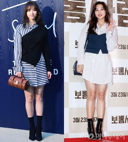 이연희 vs 조보아, '스트라이프 셔츠 원피스' 패션…승자는?