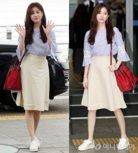 한효주, 청초한 공항 패션…빨간색 복조리백 '포인트'