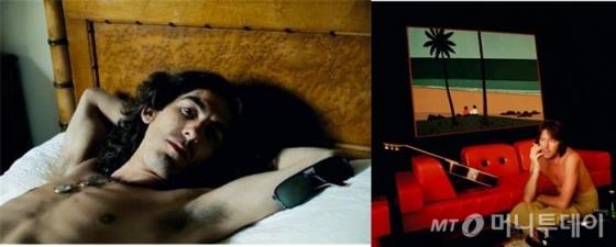 패티 보이드가 꼽은 '가장 마음에 드는 두 남자의 사진'이다. 조지 해리슨(왼쪽)이 1968년 가장 평화롭게 누워있는 침대 휴식 장면과 에릭 클랩튼이 1974년 공연을 끝내고 대기실에서 흡연하며 쉬고 있는 장면이 그것. 그녀는 &quot;해리슨은 가장 평화로운 마지막 모습이어서, 클랩튼은 주변의 빨간색과 너무 잘 어울려서&quot;라는 이유를 들어 한장의 사진을 각각 꼽았다. /사진제공=BIG J Ent.<br /> <br /> <br />