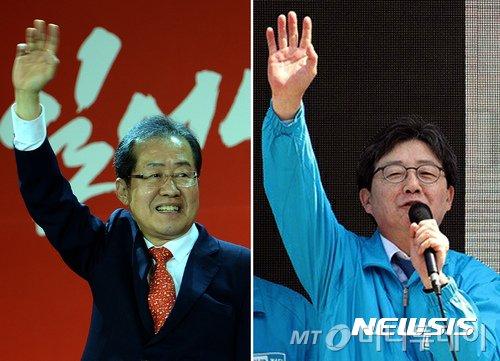 홍준표 자유한국당 대선후보(왼쪽)와 유승민 바른정당 대선후보의 모습. /사진=뉴시스
