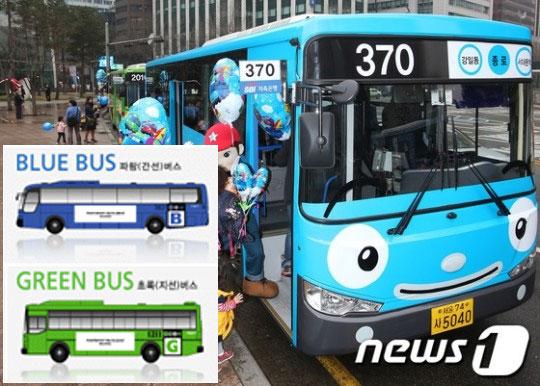 지난 2014년 서울에 등장한 '타요버스'(큰 사진)와 서울시 홈페이지의 시내버스 요금에 대한 설명중 일부. /사진=뉴스1
