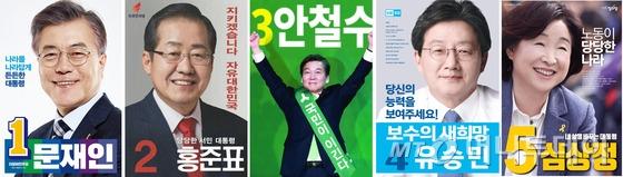 5개 정당에서 발표한 대선후보자 선거 포스터. /사진=뉴스1