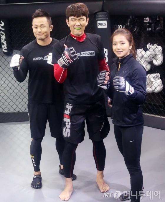 왼쪽부터 서두원 이종격투기 선수, 개그맨 윤형빈, 송가연 선수. /사진=머니투데이DB