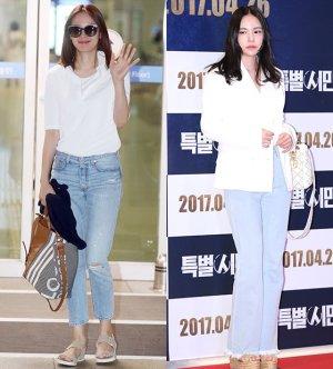 조윤희 vs 민효린, 화이트 셔츠+청바지 패션…승자는?