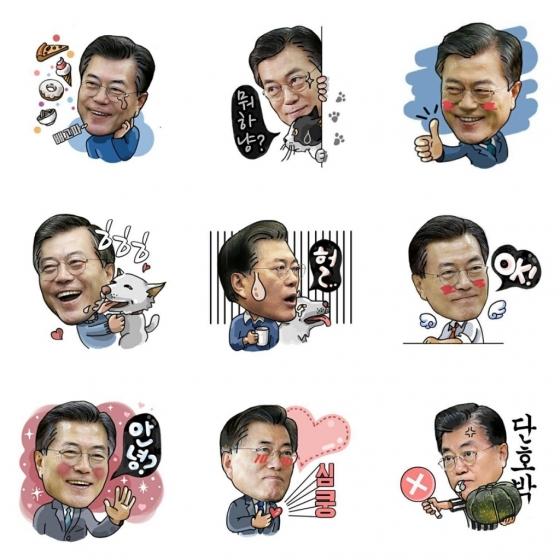 문재인 지지자들 사이에서 일명 '이니티콘'(문 대통령의 별명인 '이니'와 '이모티콘'의 합성어)이라 불리며 사용되는 이모티콘. /사진=온라인 커뮤니티