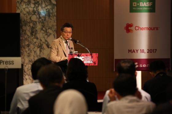 조현대 한국SEMI 대표가 18일 서울 삼성동 코엑스에서 열린 반도체전자재료 기술컨퍼런스 'SMC Korea'에서 발언하고 있다. /사진제공=한국SEMI