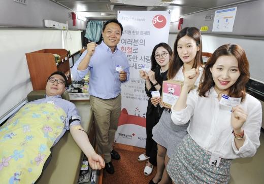 BC카드가 지난 18일 서울 서초동 소재 BC카드 본사에서 임직원 30여명이 참석한 가운데 '사랑의 헌혈 캠페인'을 진행했다. / 사진제공=BC카드