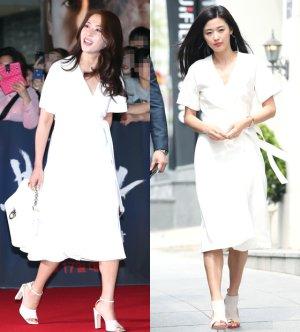 송윤아 vs 전지현, 화이트 원피스 룩…