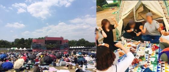 지난달 열린 서울재즈페스티벌(왼쪽), 한 시민이 친구들과 함께 한 음악페스티벌을 공짜로 즐겼다며 SNS에 게시한 사진(오른쪽) /사진=이재은 기자, SNS 캡처