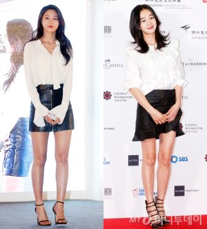설현 vs 수애, '블랙 앤 화이트' 패션 대결…