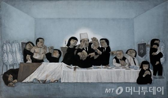 조문기의 작품 '상주와 함께' 애도는 사라지고 싸움만 남은 장례식장의 모습이다. /사진제공=바라캇 서울