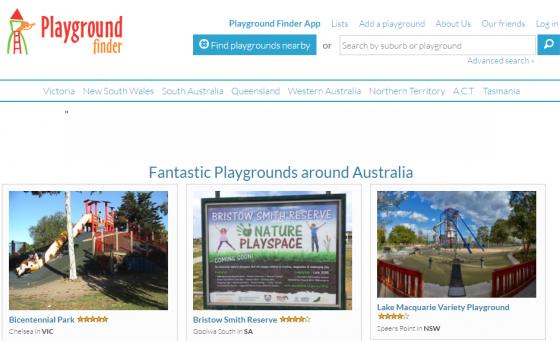 호주 내 실외놀이터를 소개하는 웹사이트 '플레이그라운드 파인더'(Playground Finder). 동네에서 가장 가까운 놀이터는 어디인지 찾아볼 수 있다. 사용자들의 평가, 체험기 등도 제공된다. /사진=플레이그라운드 파인더 캡처