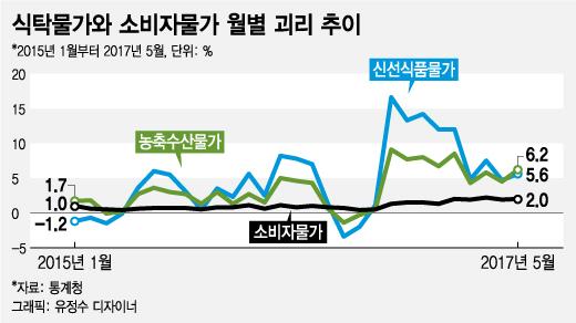 치솟는 '식탁물가'…소비자물가와 괴리 2010년 이후 최대치