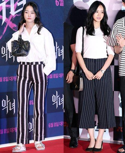 """강승현 vs 혜리, '스트라이프 팬츠' 패션…""""남다른 비율"""""""