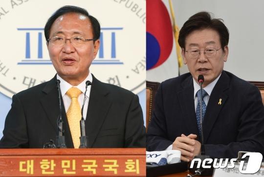 노회찬 정의당 원내대표(왼쪽)와 이재명 성남시장/사진=뉴스1