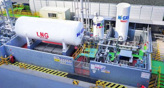 현대중공업이 울산 본사에 구축한 LNG선 종합 실증설비/사진제공=현대중공업
