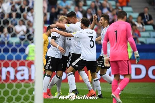 득점을 기뻐하는 독일 선수들 /사진=AFP