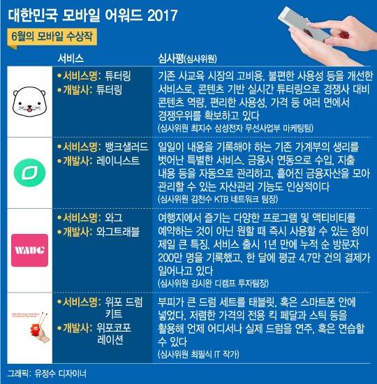 '대한민국 모바일 어워드 2017' 6월의 모바일은?