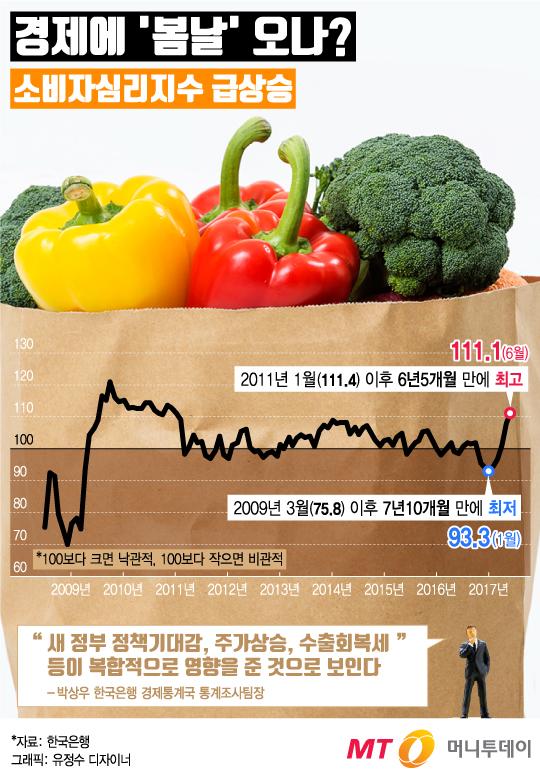 [그래픽뉴스]소비자심리지수 '쑥쑥'… 새 정부 정책 기대?