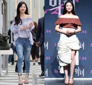 수지 vs 김옥빈, '오프숄더' 스타일링 대결