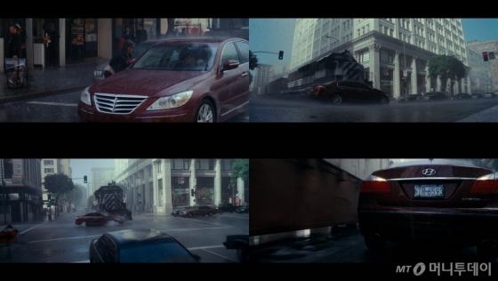 크리스토퍼 놀란 감독의 '인셉션', 기차와 충돌한 현대차 '제네시스'가 큰 파손없이 다시 주행한다, /사진=화면 캡쳐