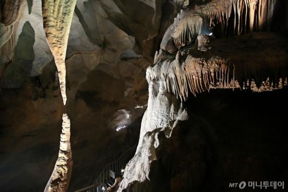 충북 단양 고수동굴. 종유석과 석순이 만나기 직전의 모습이 연출된 사랑바위. /사진=김숙현<br />