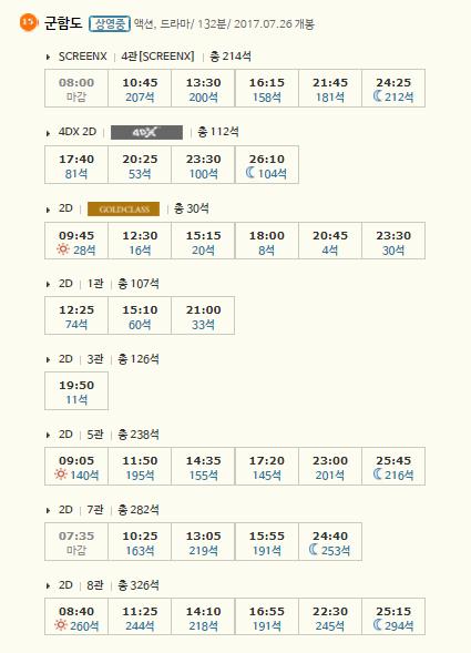 27일 CGV왕십리의 '군함도' 상영시간표 /사진=홈페이지 캡처