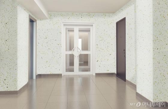 다채무늬도료로 시공한 아파트 복도 이미지/사진제공=삼화페인트