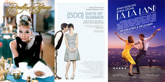 /사진=영화 '티파니에서 아침을' '500일의 썸머' '라라랜드' 포스터