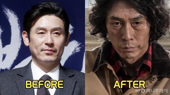 지난 4월 영화 '불한당' 제작보고회에 참석한 설경구(왼쪽)와 신작 '살인자의 기억법' 속 설경구. /사진제공=쇼박스