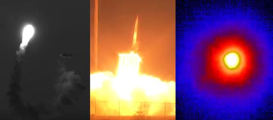 미국 미사일방어청(MDA)이 11일(현지시간) 고고도미사일방어(THAADㆍ사드) 체계의 중거리탄도미사일(IRBM) 요격 시험에 성공했다고 밝혔다.  사진은 하와이 상공에 투하된 중장거리탄도미사일(IRBM) 표적체(왼쪽)를 알래스카주 코디악 기지에서 발사한 사드 요격미사일(가운데)로 명중시켜 파편이 산산조각 흩어지는 모습.(美 MDA) /사진=뉴스1