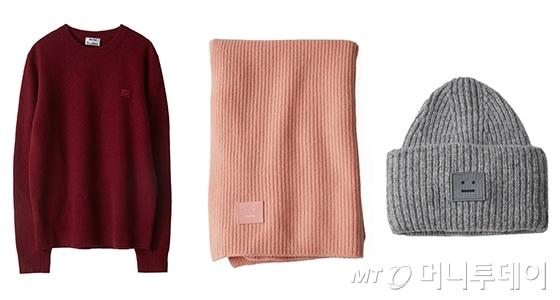 스웨트셔츠, 머플러, 니트 모자/사진제공=신세계인터내셔날