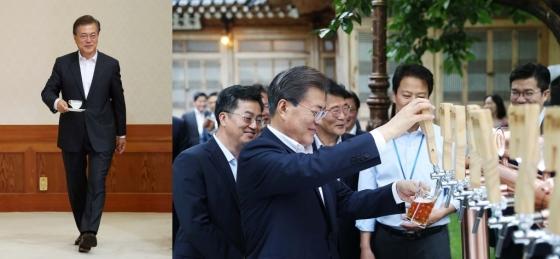커피를 든 문재인 대통령. 세븐브로이 맥주를 따르는 문 대통령(왼쪽부터). /사진=뉴스1